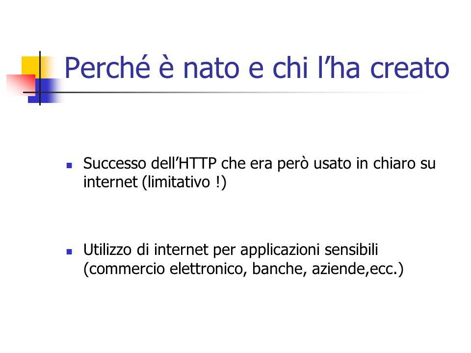 Perché è nato e chi lha creato Successo dellHTTP che era però usato in chiaro su internet (limitativo !) Utilizzo di internet per applicazioni sensibi