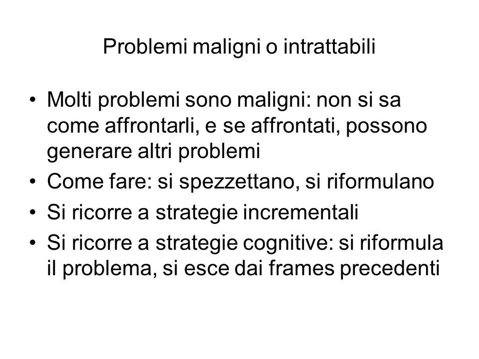 Problemi maligni o intrattabili Molti problemi sono maligni: non si sa come affrontarli, e se affrontati, possono generare altri problemi Come fare: s