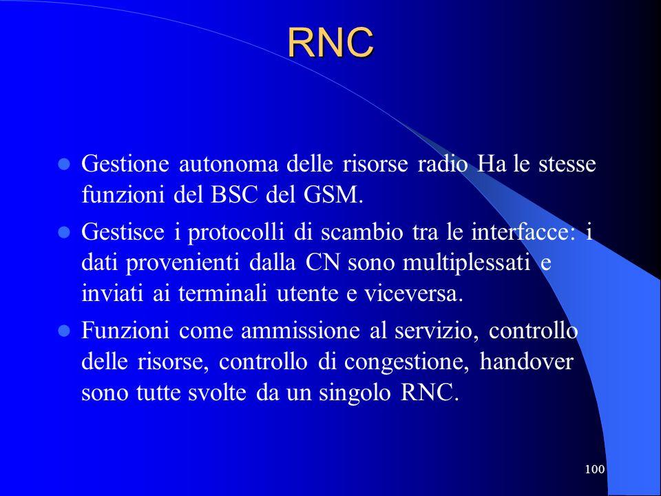 100RNC Gestione autonoma delle risorse radio Ha le stesse funzioni del BSC del GSM.