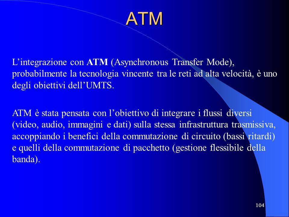 104ATM Lintegrazione con ATM (Asynchronous Transfer Mode), probabilmente la tecnologia vincente tra le reti ad alta velocità, è uno degli obiettivi dellUMTS.