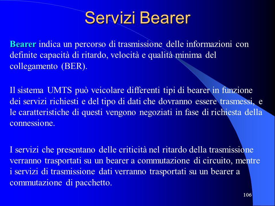 106 Servizi Bearer Bearer Bearer indica un percorso di trasmissione delle informazioni con definite capacità di ritardo, velocità e qualità minima del collegamento (BER).