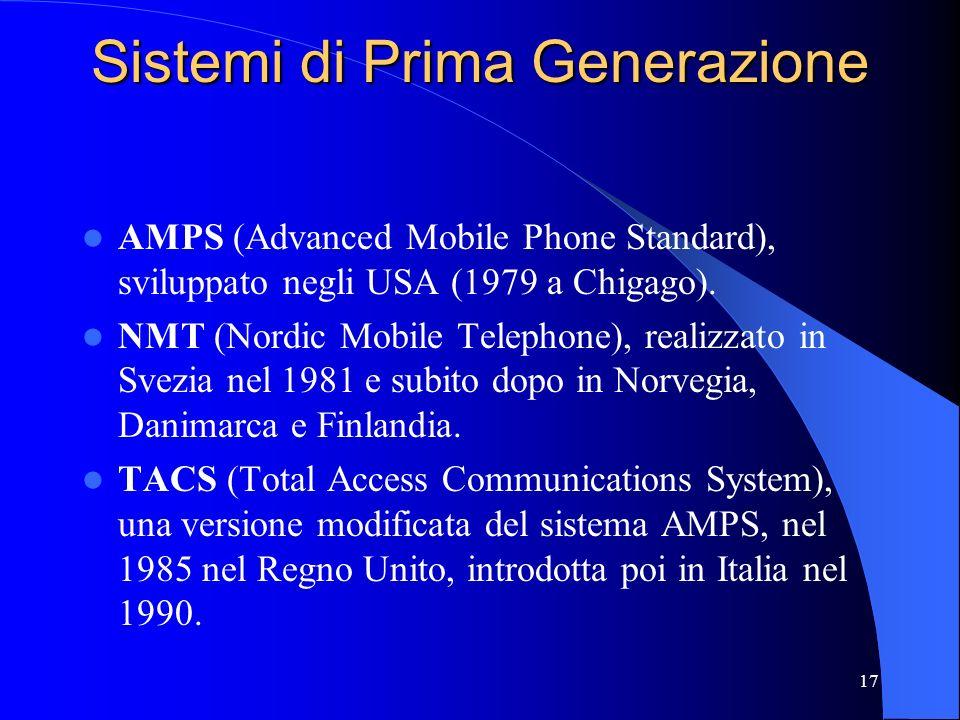 17 Sistemi di Prima Generazione AMPS (Advanced Mobile Phone Standard), sviluppato negli USA (1979 a Chigago).