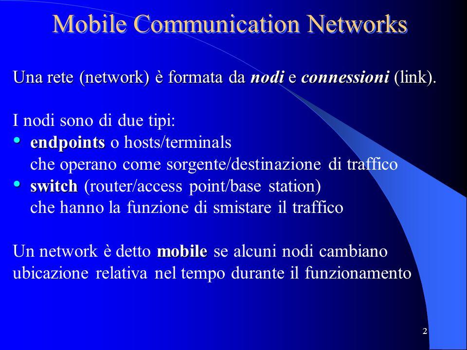 2 Mobile Communication Networks Una rete (network) è formata da nodi e connessioni (link).