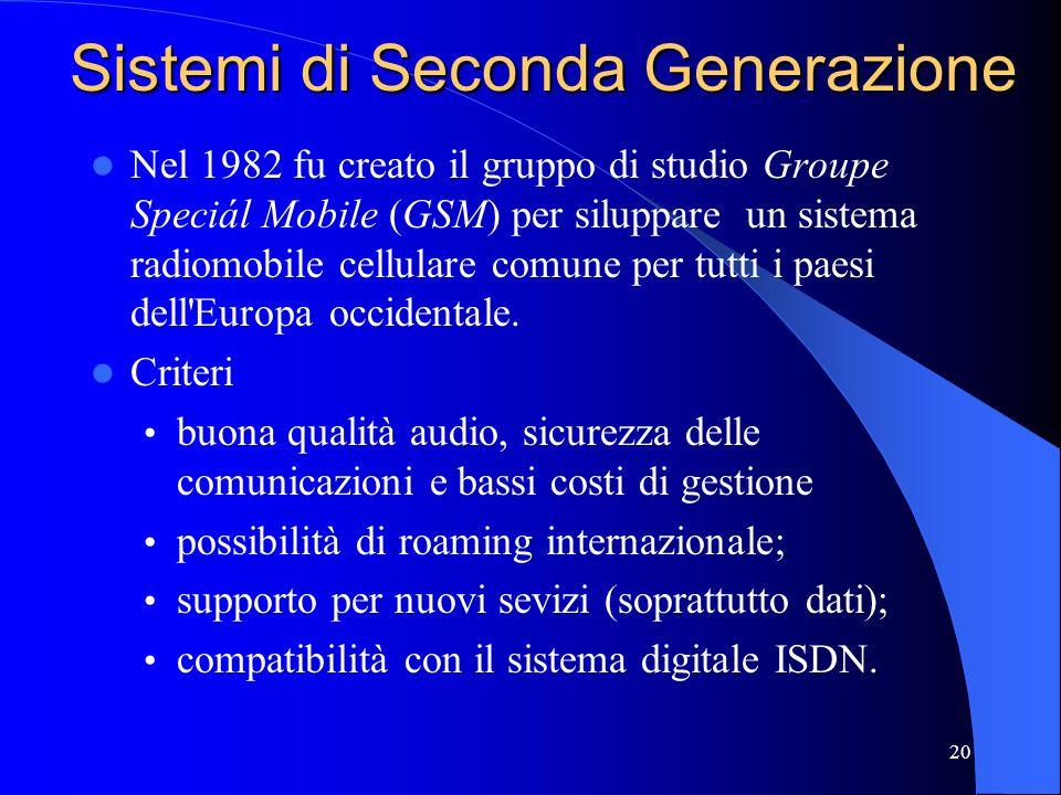 20 Sistemi di Seconda Generazione Nel 1982 fu creato il gruppo di studio Groupe Speciál Mobile (GSM) per siluppare un sistema radiomobile cellulare comune per tutti i paesi dell Europa occidentale.