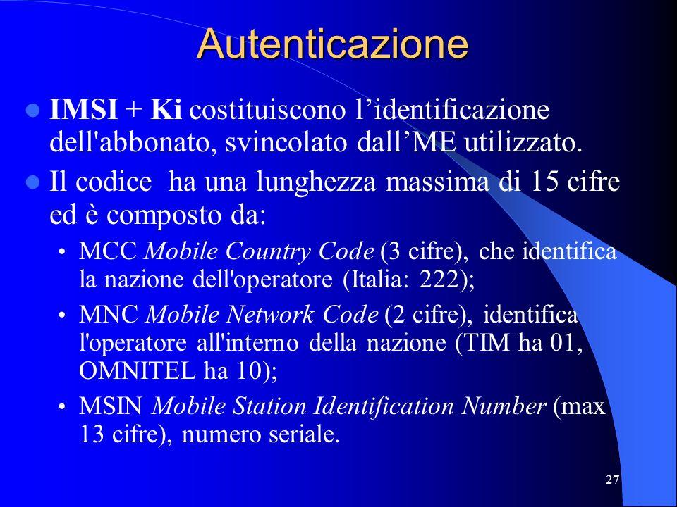 27Autenticazione IMSI + Ki costituiscono lidentificazione dell abbonato, svincolato dallME utilizzato.