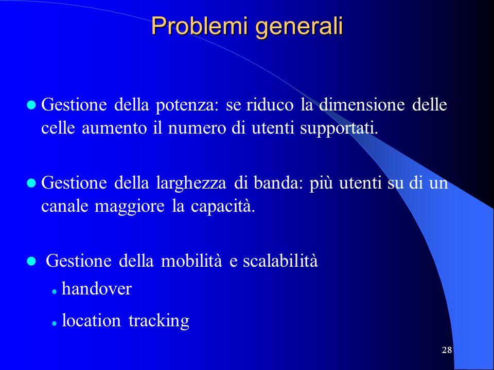 28 Problemi generali Gestione della potenza: se riduco la dimensione delle celle aumento il numero di utenti supportati.