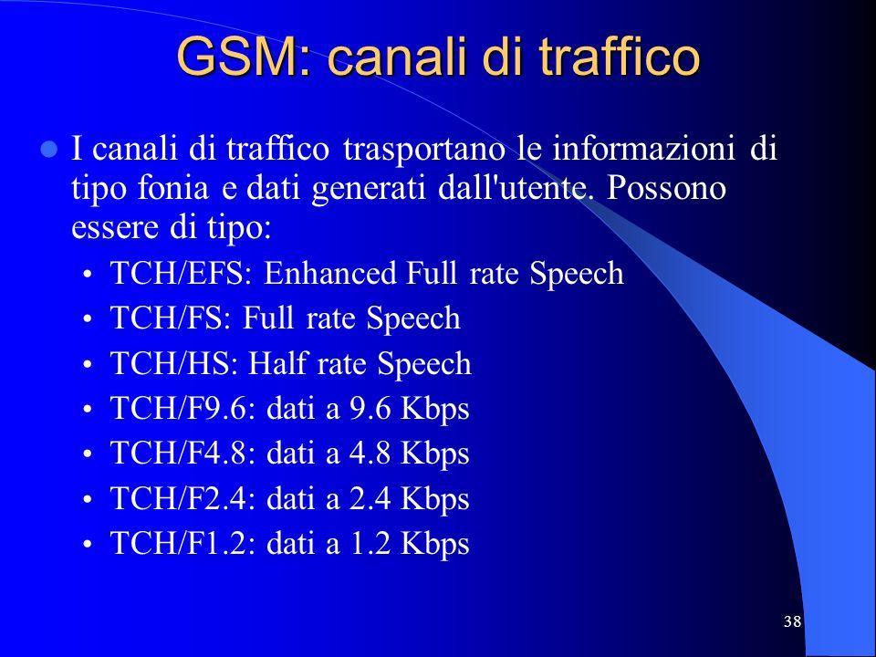 38 GSM: canali di traffico I canali di traffico trasportano le informazioni di tipo fonia e dati generati dall utente.