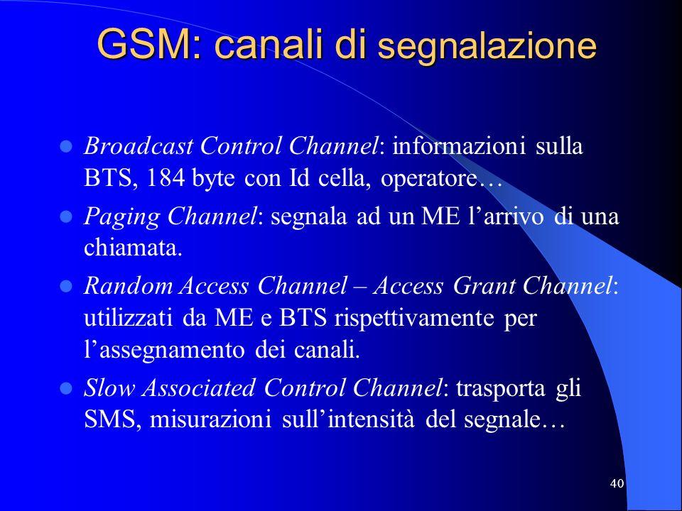 40 GSM: canali di segnalazione Broadcast Control Channel: informazioni sulla BTS, 184 byte con Id cella, operatore… Paging Channel: segnala ad un ME larrivo di una chiamata.