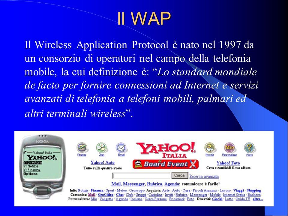 42 Il WAP Il Wireless Application Protocol è nato nel 1997 da un consorzio di operatori nel campo della telefonia mobile, la cui definizione è: Lo standard mondiale de facto per fornire connessioni ad Internet e servizi avanzati di telefonia a telefoni mobili, palmari ed altri terminali wireless.
