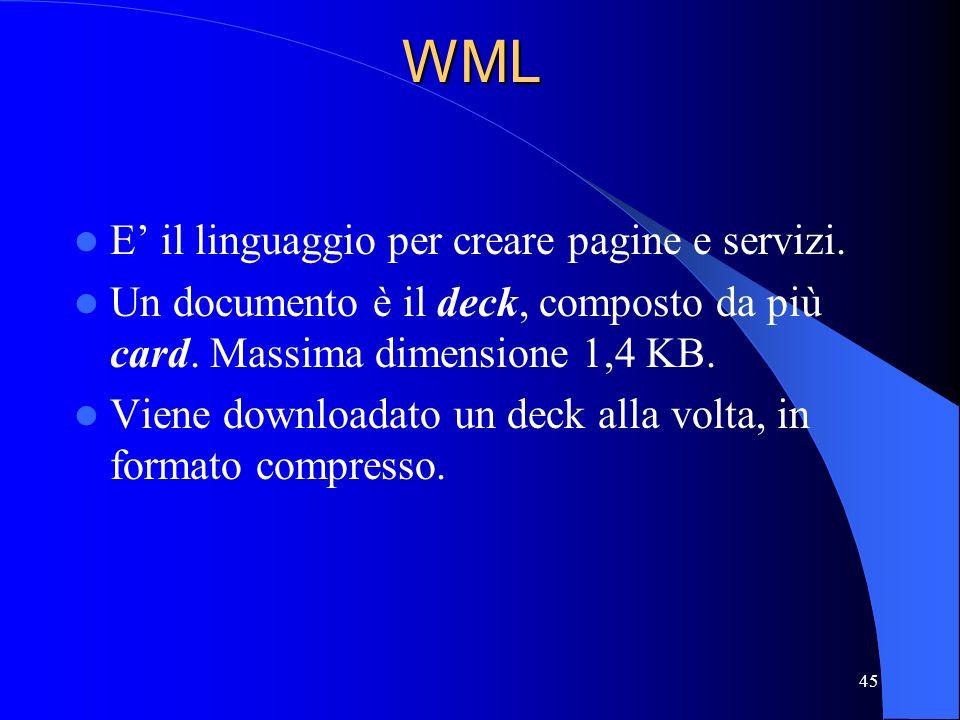 45WML E il linguaggio per creare pagine e servizi.
