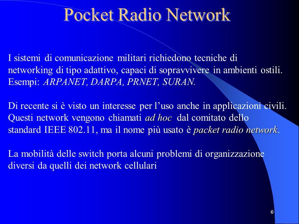6 Pocket Radio Network I sistemi di comunicazione militari richiedono tecniche di networking di tipo adattivo, capaci di sopravvivere in ambienti ostili.