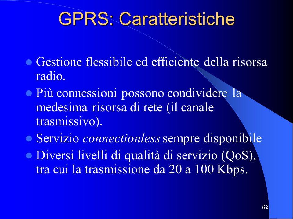 62 GPRS: Caratteristiche Gestione flessibile ed efficiente della risorsa radio.