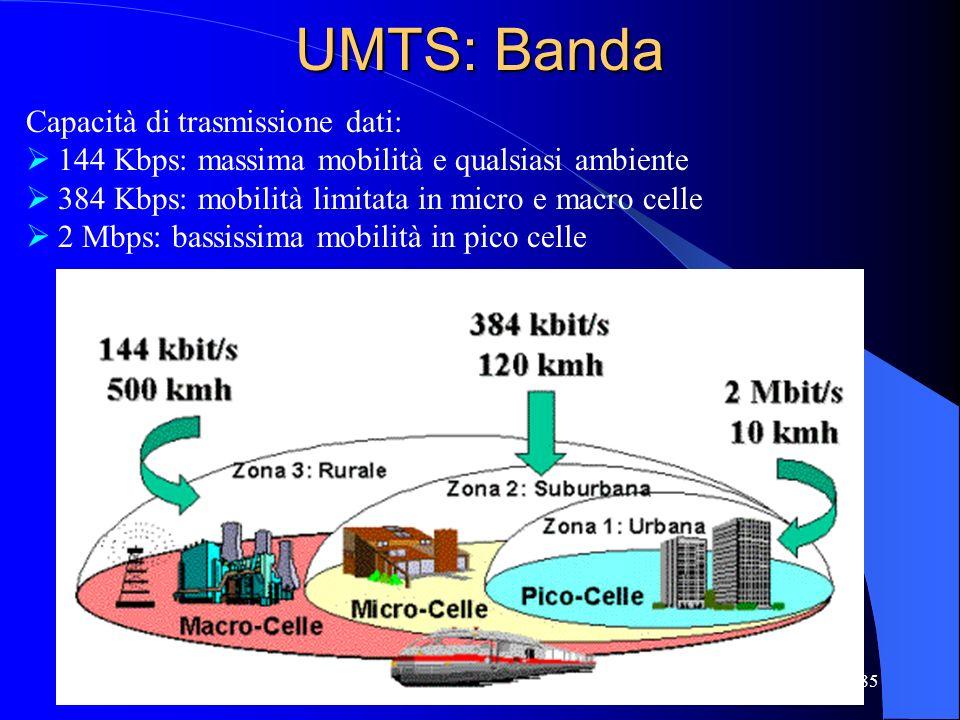85 UMTS: Banda Capacità di trasmissione dati: 144 Kbps: massima mobilità e qualsiasi ambiente 384 Kbps: mobilità limitata in micro e macro celle 2 Mbps: bassissima mobilità in pico celle