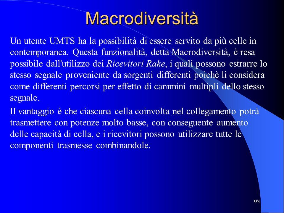 93Macrodiversità Un utente UMTS ha la possibilità di essere servito da più celle in contemporanea.