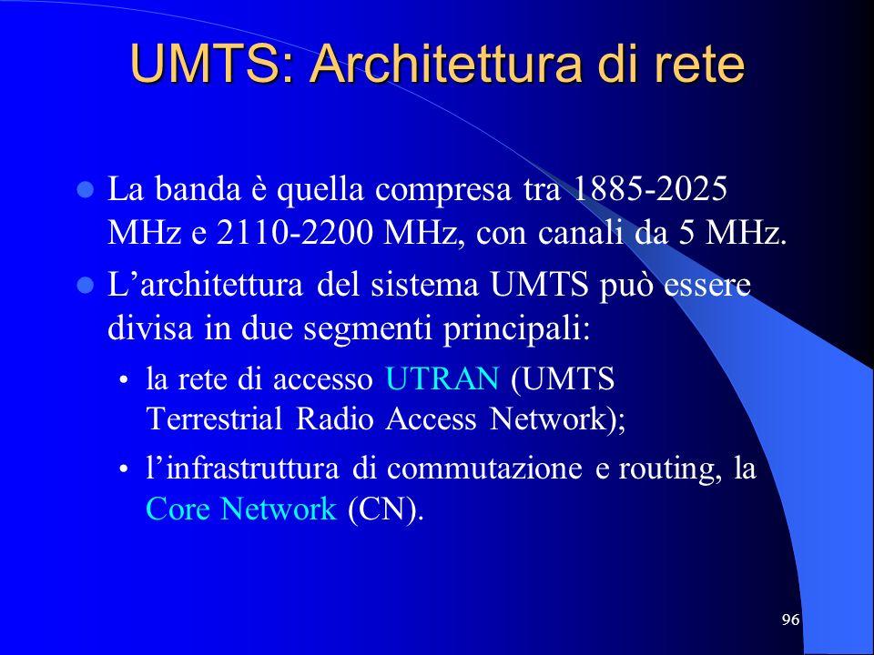 96 UMTS: Architettura di rete La banda è quella compresa tra 1885-2025 MHz e 2110-2200 MHz, con canali da 5 MHz.