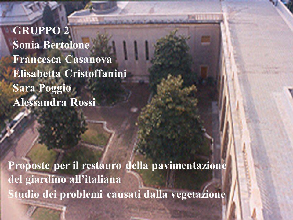 GRUPPO 2 Sonia Bertolone Francesca Casanova Elisabetta Cristoffanini Sara Poggio Alessandra Rossi Proposte per il restauro della pavimentazione del gi