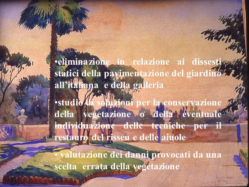 eliminazione in relazione ai dissesti statici della pavimentazione del giardino allitaliana e della galleria studio di soluzioni per la conservazione