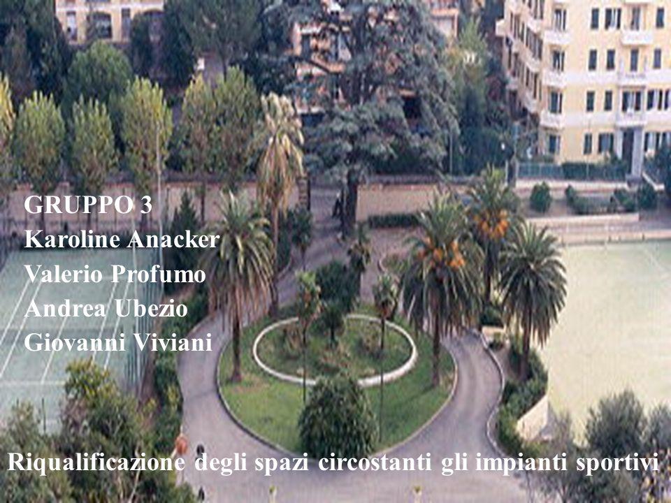 GRUPPO 3 Karoline Anacker Valerio Profumo Andrea Ubezio Giovanni Viviani Riqualificazione degli spazi circostanti gli impianti sportivi
