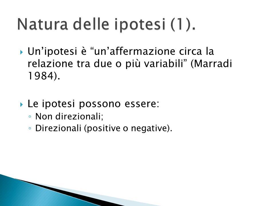 Unipotesi è unaffermazione circa la relazione tra due o più variabili (Marradi 1984).
