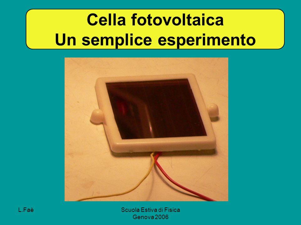 L.FaèScuola Estiva di Fisica Genova 2006 Cella fotovoltaica Un semplice esperimento