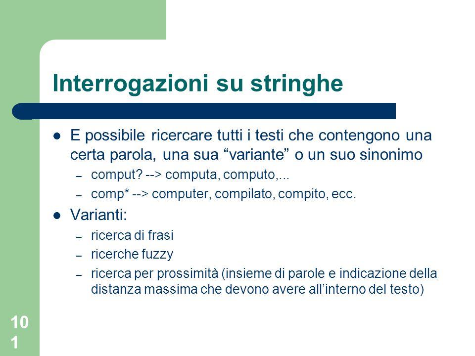 101 Interrogazioni su stringhe E possibile ricercare tutti i testi che contengono una certa parola, una sua variante o un suo sinonimo – comput.