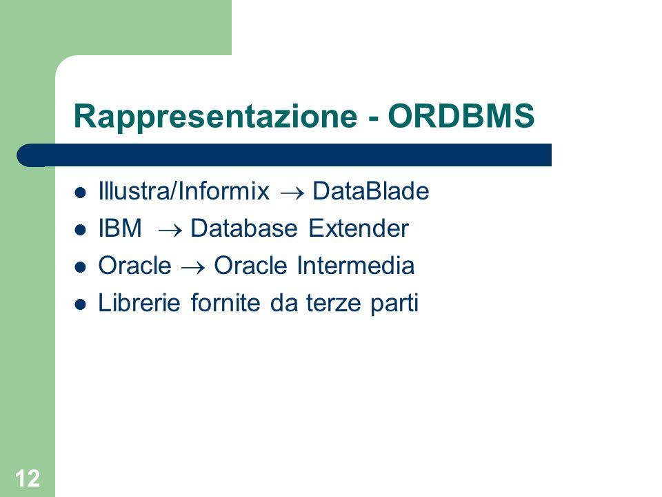 12 Rappresentazione - ORDBMS Illustra/Informix DataBlade IBM Database Extender Oracle Oracle Intermedia Librerie fornite da terze parti
