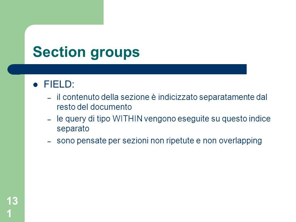 131 Section groups FIELD: – il contenuto della sezione è indicizzato separatamente dal resto del documento – le query di tipo WITHIN vengono eseguite su questo indice separato – sono pensate per sezioni non ripetute e non overlapping