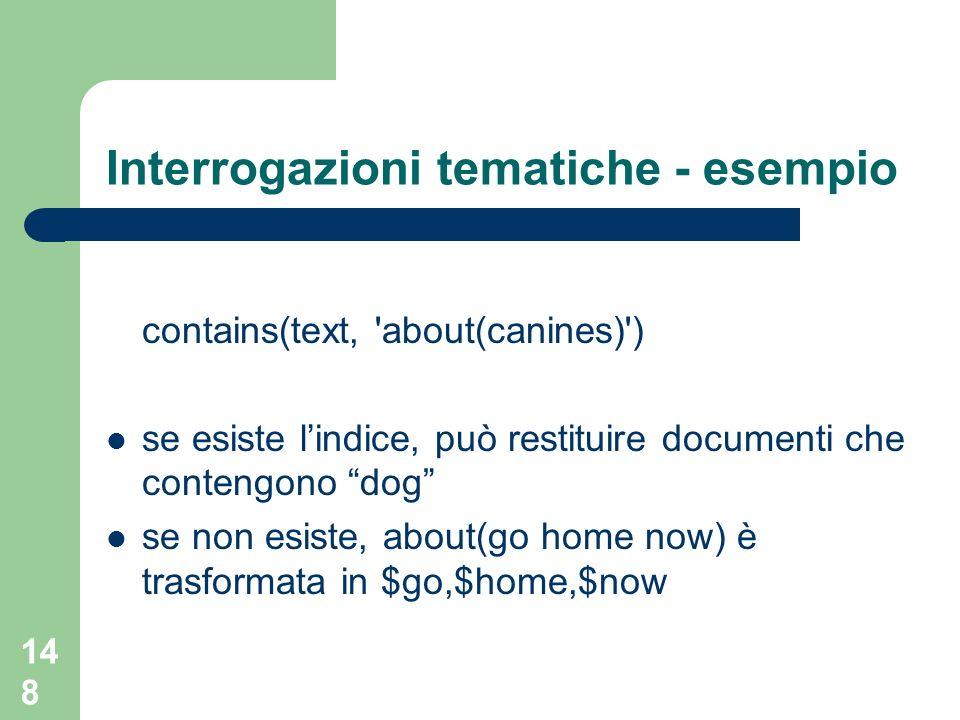 148 Interrogazioni tematiche - esempio contains(text, 'about(canines)') se esiste lindice, può restituire documenti che contengono dog se non esiste,