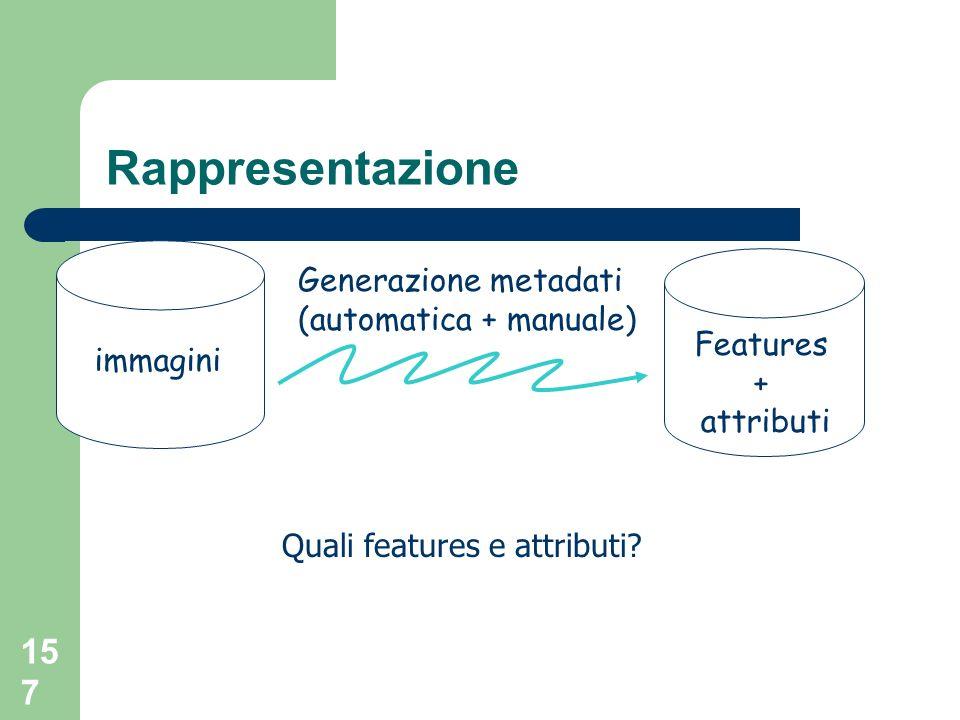 157 Rappresentazione immagini Features + attributi Generazione metadati (automatica + manuale) Quali features e attributi?