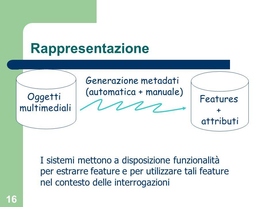 16 Rappresentazione Oggetti multimediali Features + attributi Generazione metadati (automatica + manuale) I sistemi mettono a disposizione funzionalit