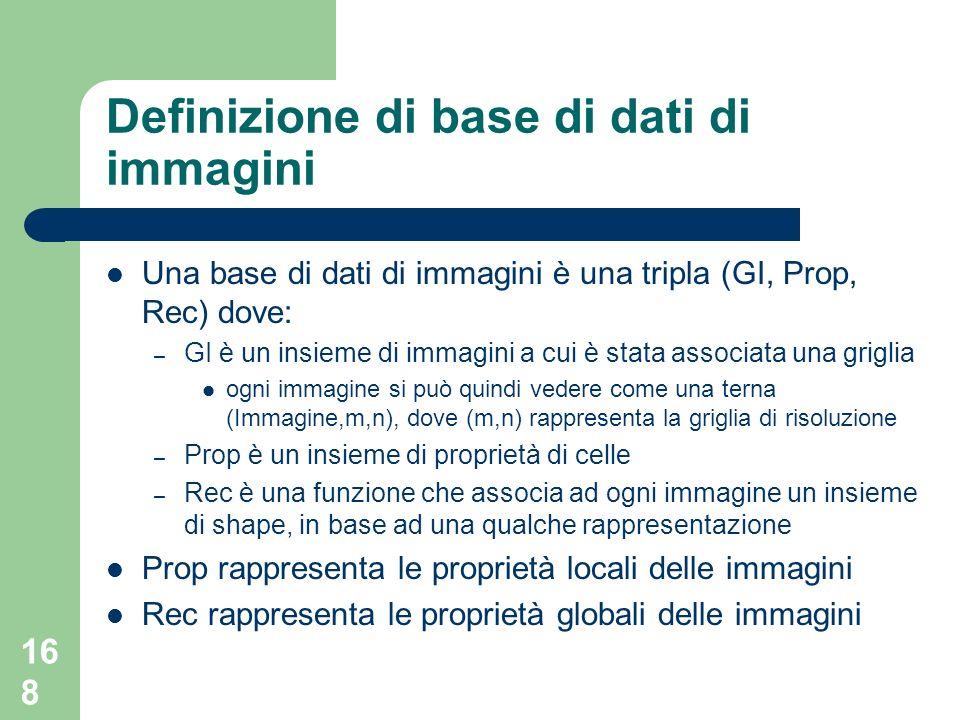 168 Definizione di base di dati di immagini Una base di dati di immagini è una tripla (GI, Prop, Rec) dove: – GI è un insieme di immagini a cui è stat