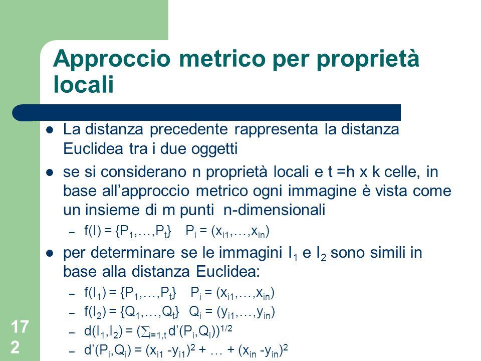 172 Approccio metrico per proprietà locali La distanza precedente rappresenta la distanza Euclidea tra i due oggetti se si considerano n proprietà locali e t =h x k celle, in base allapproccio metrico ogni immagine è vista come un insieme di m punti n-dimensionali – f(I) = {P 1,…,P t } P i = (x i1,…,x in ) per determinare se le immagini I 1 e I 2 sono simili in base alla distanza Euclidea: – f(I 1 ) = {P 1,…,P t } P i = (x i1,…,x in ) – f(I 2 ) = {Q 1,…,Q t } Q i = (y i1,…,y in ) – d(I 1,I 2 ) = ( i=1,t d(P i,Q i )) 1/2 – d(P i,Q i ) = (x i1 -y i1 ) 2 + … + (x in -y in ) 2