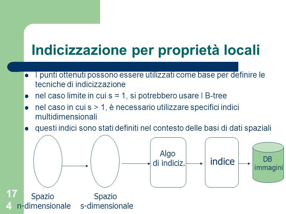 174 Indicizzazione per proprietà locali I punti ottenuti possono essere utilizzati come base per definire le tecniche di indicizzazione nel caso limit