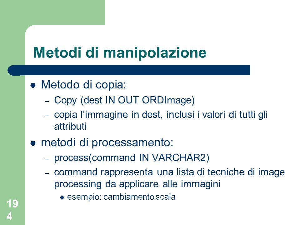 194 Metodi di manipolazione Metodo di copia: – Copy (dest IN OUT ORDImage) – copia limmagine in dest, inclusi i valori di tutti gli attributi metodi d