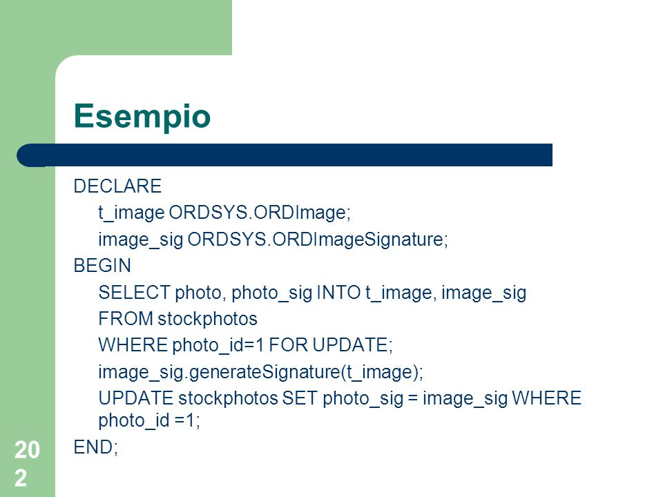 202 Esempio DECLARE t_image ORDSYS.ORDImage; image_sig ORDSYS.ORDImageSignature; BEGIN SELECT photo, photo_sig INTO t_image, image_sig FROM stockphoto