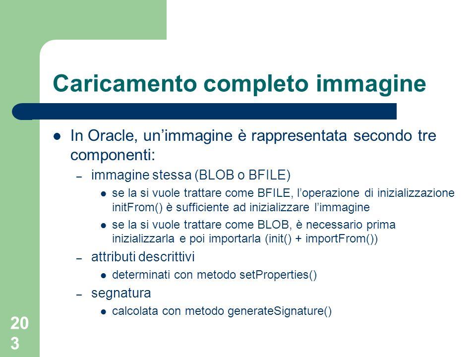 203 Caricamento completo immagine In Oracle, unimmagine è rappresentata secondo tre componenti: – immagine stessa (BLOB o BFILE) se la si vuole trattare come BFILE, loperazione di inizializzazione initFrom() è sufficiente ad inizializzare limmagine se la si vuole trattare come BLOB, è necessario prima inizializzarla e poi importarla (init() + importFrom()) – attributi descrittivi determinati con metodo setProperties() – segnatura calcolata con metodo generateSignature()