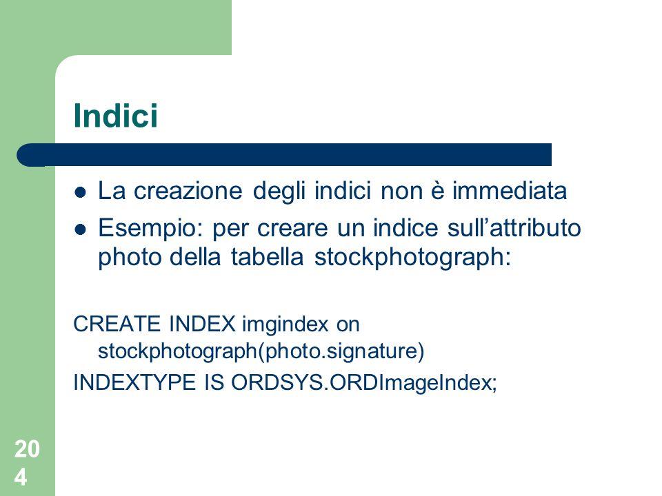 204 Indici La creazione degli indici non è immediata Esempio: per creare un indice sullattributo photo della tabella stockphotograph: CREATE INDEX imgindex on stockphotograph(photo.signature) INDEXTYPE IS ORDSYS.ORDImageIndex;