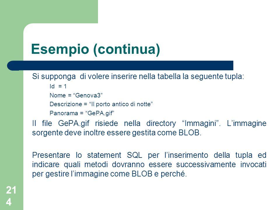 214 Esempio (continua) Si supponga di volere inserire nella tabella la seguente tupla: Id = 1 Nome = Genova3 Descrizione = Il porto antico di notte Panorama = GePA.gif Il file GePA.gif risiede nella directory Immagini.