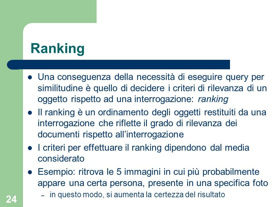 24 Ranking Una conseguenza della necessità di eseguire query per similitudine è quello di decidere i criteri di rilevanza di un oggetto rispetto ad un