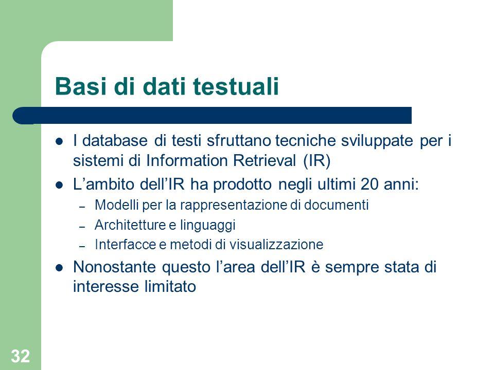 32 Basi di dati testuali I database di testi sfruttano tecniche sviluppate per i sistemi di Information Retrieval (IR) Lambito dellIR ha prodotto negl