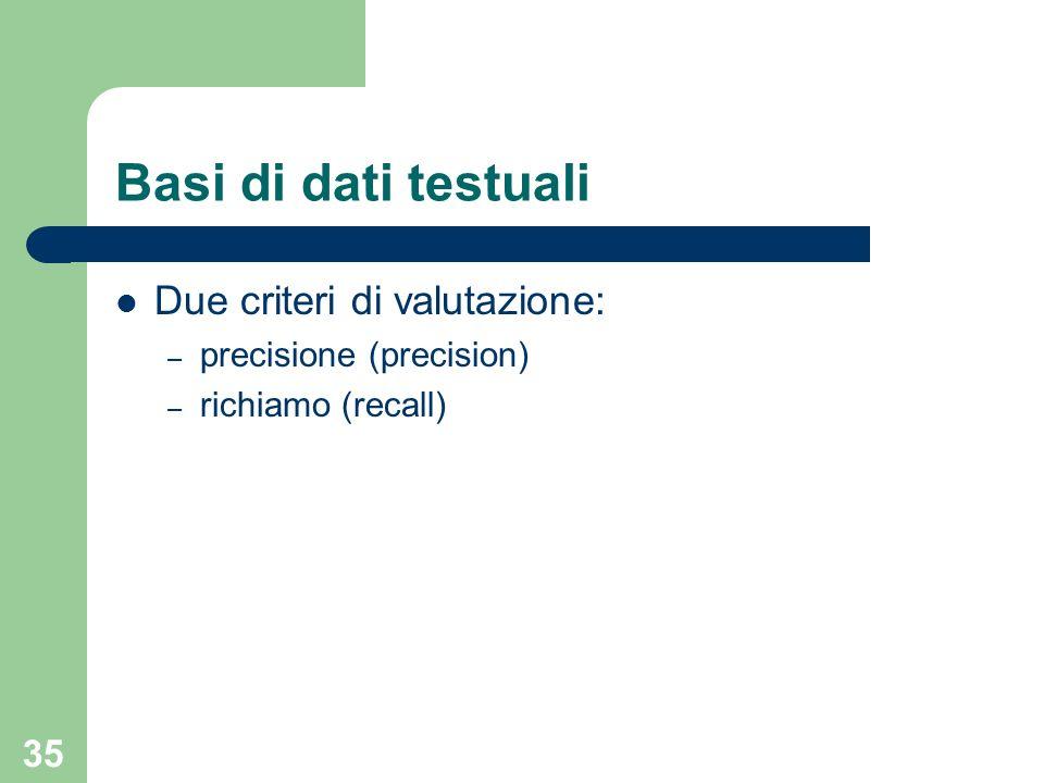 35 Due criteri di valutazione: – precisione (precision) – richiamo (recall) Basi di dati testuali