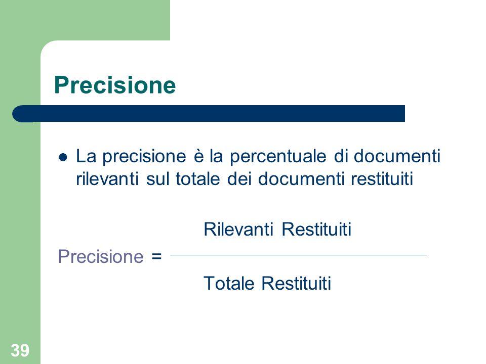 39 Precisione La precisione è la percentuale di documenti rilevanti sul totale dei documenti restituiti Rilevanti Restituiti Precisione = Totale Restituiti