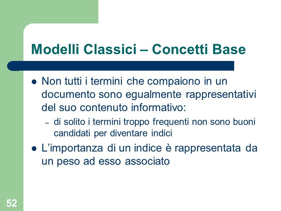 52 Modelli Classici – Concetti Base Non tutti i termini che compaiono in un documento sono egualmente rappresentativi del suo contenuto informativo: –