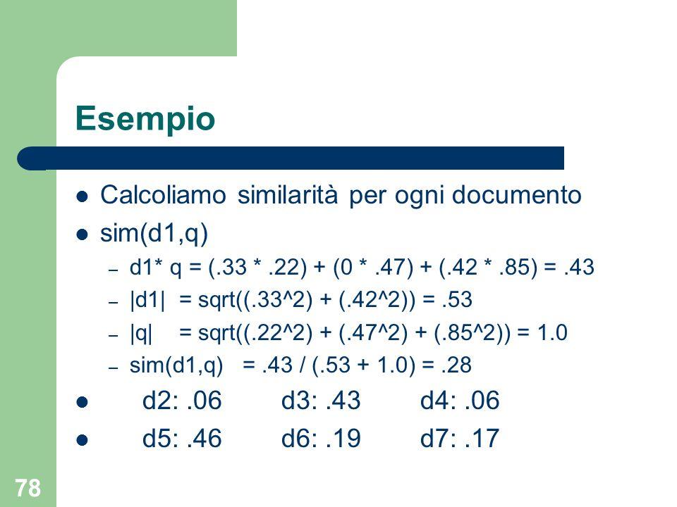 78 Esempio Calcoliamo similarità per ogni documento sim(d1,q) – d1* q = (.33 *.22) + (0 *.47) + (.42 *.85) =.43 – |d1| = sqrt((.33^2) + (.42^2)) =.53 – |q| = sqrt((.22^2) + (.47^2) + (.85^2)) = 1.0 – sim(d1,q) =.43 / (.53 + 1.0) =.28 d2:.06 d3:.43 d4:.06 d5:.46 d6:.19 d7:.17