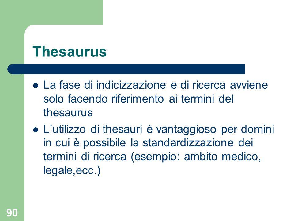 90 Thesaurus La fase di indicizzazione e di ricerca avviene solo facendo riferimento ai termini del thesaurus Lutilizzo di thesauri è vantaggioso per domini in cui è possibile la standardizzazione dei termini di ricerca (esempio: ambito medico, legale,ecc.)