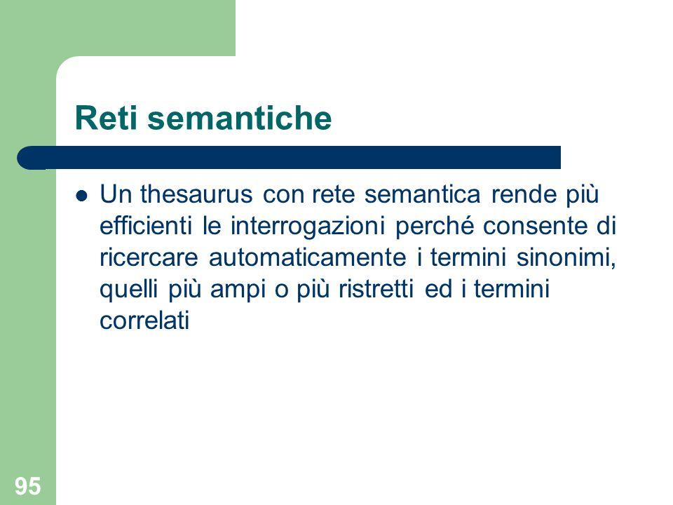 95 Reti semantiche Un thesaurus con rete semantica rende più efficienti le interrogazioni perché consente di ricercare automaticamente i termini sinonimi, quelli più ampi o più ristretti ed i termini correlati