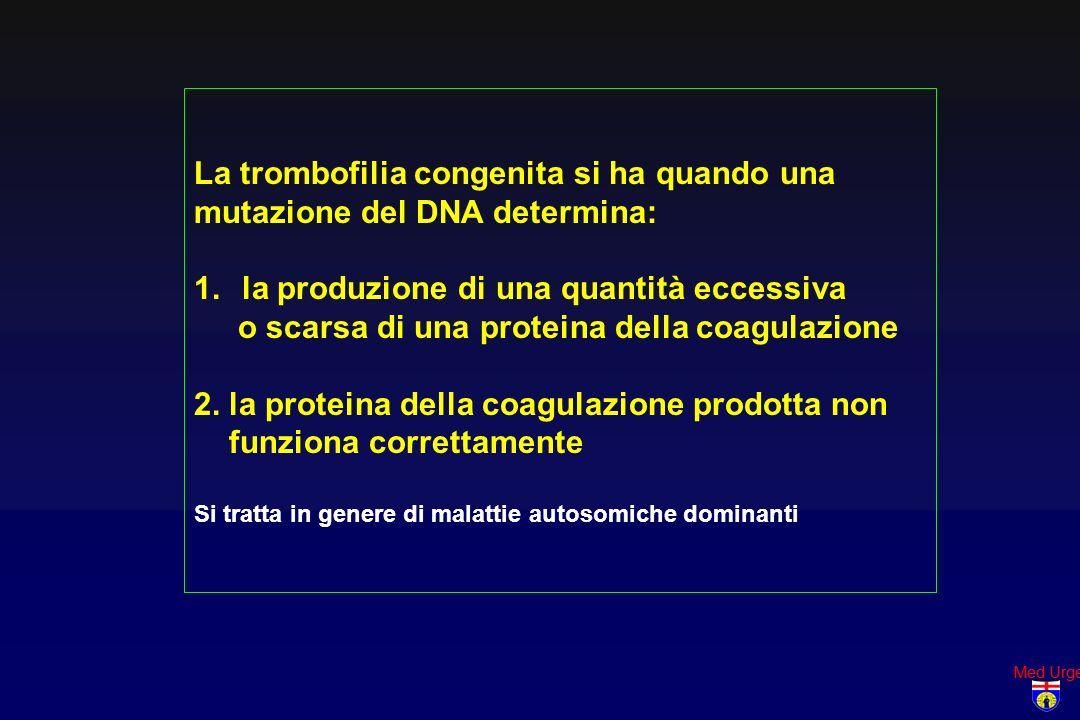 Med Urge La trombofilia congenita si ha quando una mutazione del DNA determina: 1.la produzione di una quantità eccessiva o scarsa di una proteina del