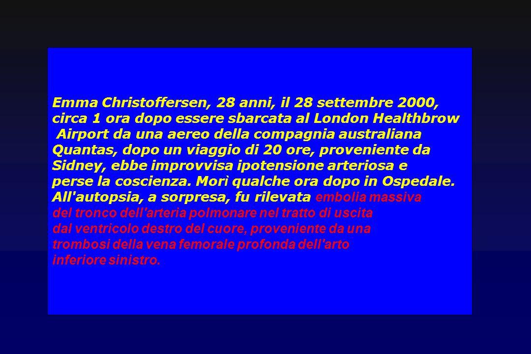 Emma Christoffersen, 28 anni, il 28 settembre 2000, circa 1 ora dopo essere sbarcata al London Healthbrow Airport da una aereo della compagnia austral
