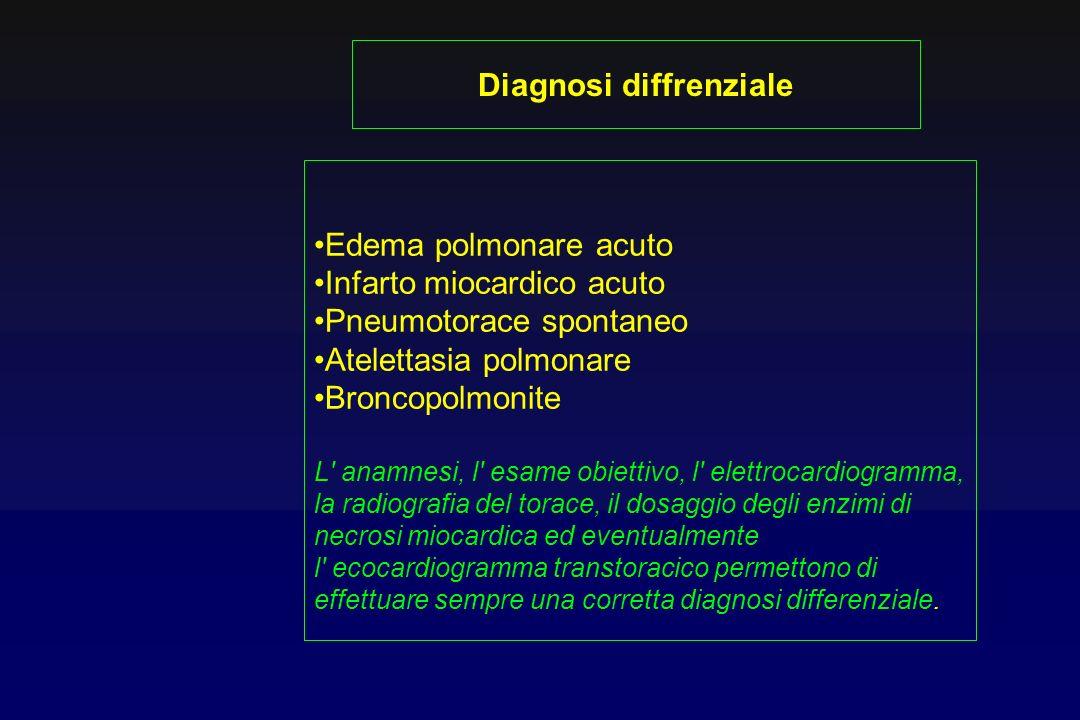 Edema polmonare acuto Infarto miocardico acuto Pneumotorace spontaneo Atelettasia polmonare Broncopolmonite L' anamnesi, l' esame obiettivo, l' elettr