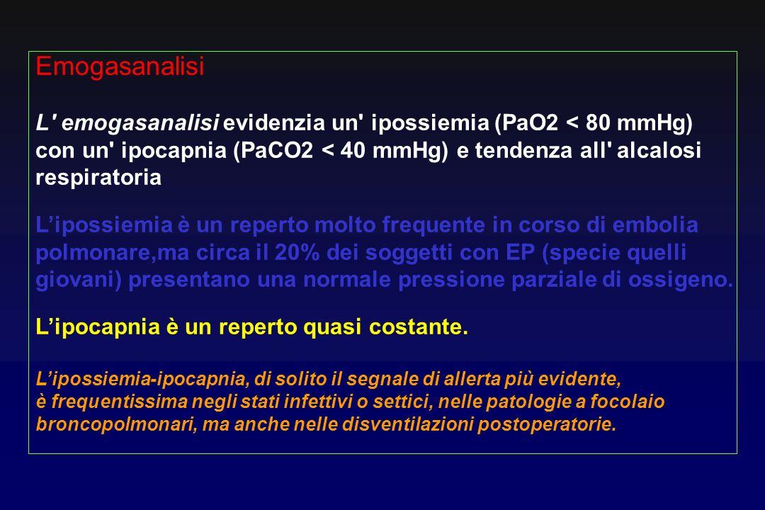 Emogasanalisi L' emogasanalisi evidenzia un' ipossiemia (PaO2 < 80 mmHg) con un' ipocapnia (PaCO2 < 40 mmHg) e tendenza all' alcalosi respiratoria Lip